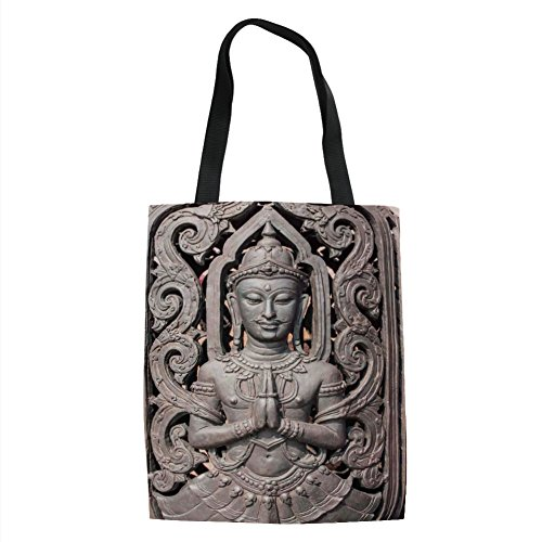 IPrint Asian Decor,Antique Sculpture in Traditional Thai Art with Swirling Floral Patterns Carving Japanese Decor,Bronze Printed Women Shoulder Linen Tote Shopping Bag by IPrint