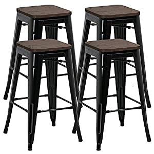 Yaheetech 26inch Set of 4 Solid Metal Industrial Breakfast Bar Stools Kitchen Bistro Cafe Vintage 331Lb- No Assembly…