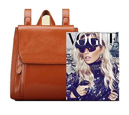 Zipper Bag Wax Backpack Women Ladies Shoulder Outer PU Lady's Leather Handbag Red Cool PULABO Hasp Oil Style t1vOqww