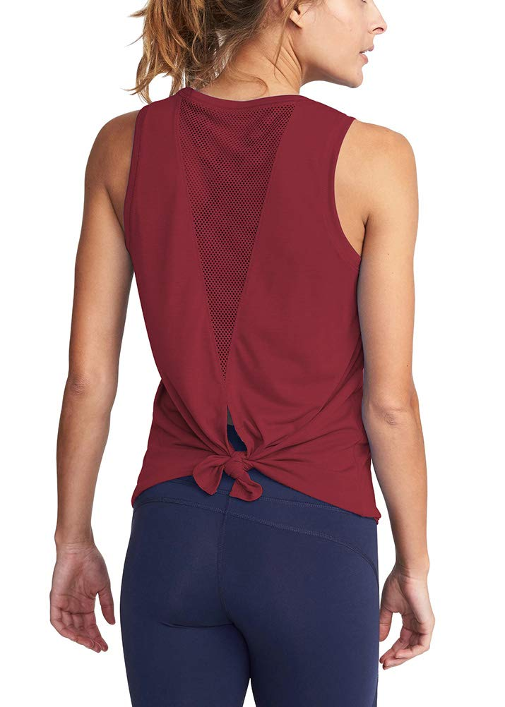 Mippo Womens Open Back Yoga Shirts Tie Back Workout Tank Tops Loose Fit Muscle Tank Sexy Mesh Sports Gym Tops Yoga Clothes Athletic Fitness Running Tank Tops for Junior Wine Red XL by Mippo