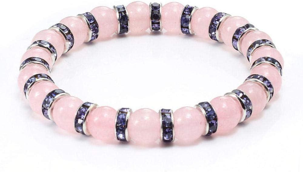 XCVB Pulsera Pulseras de Cuarzo de Cristal Rosa de Piedra Natural para Mujeres Hombres Cuentas de Polvo de Encanto Casual Pulsera de filamento Regalos de Amor, Plata púrpura