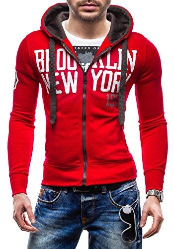 BOLF Herren Sweatshirt Pullover mit Kapuze STEGOL 1035 Rot L [1A1]