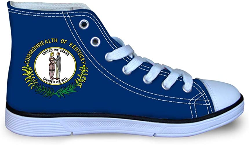Canvas High Top Sneaker Casual Skate Shoe Boys Girls United We Stand Kentucky Flag