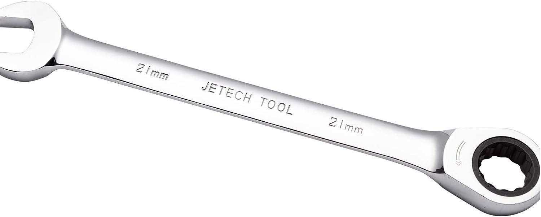 Metrischer Ratschenringmaulschl/üssel aus CR-V Stahl in Industriequalit/ät mit polierter Chromoberfl/äche Jetech Kombi-Ratschenschl/üssel 21mm