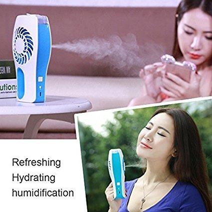 Bleu vitutech Mini Ventilateur Mini USB Ventilateur Rechargeable Mini Fan Portable Ventilateur avec humidificateur//climatiseur Ventilateur glaci/ère Fan avec Humidificateur