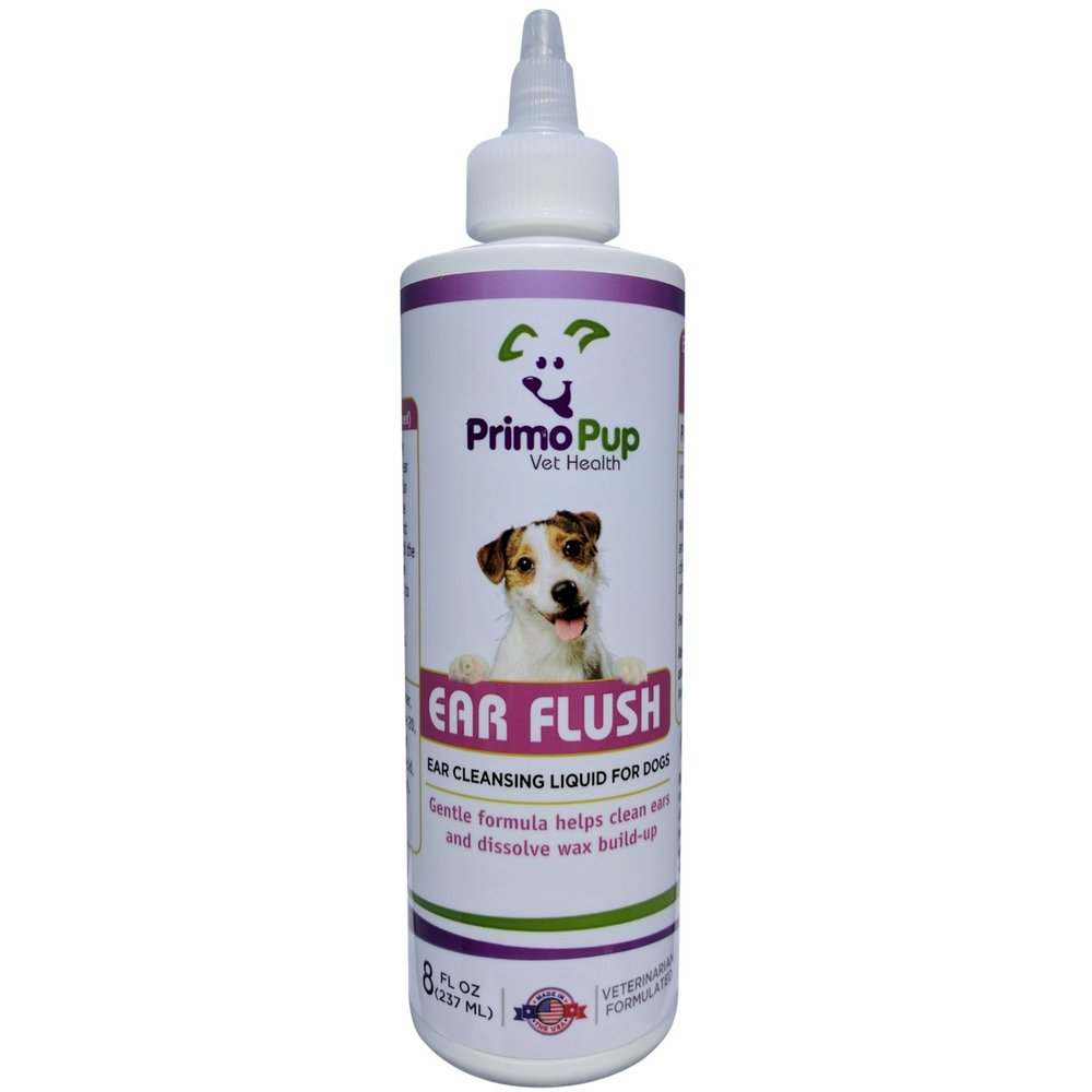 Primo Pup Vet Health - Ear Flush for Dogs – Veterinarian Formulated to Clean, Deodorize, Dissolve Wax Build-up, Reduce Irritation and Help Prevent Infection – Gentle Liquid Cleanser - 8 fl oz
