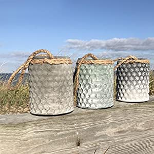 The Boat Yard Rope Hurricane Lamps, Set of 3, Shabby Weathered Blue, Lavender, and Gray, Candle Holders, Milky Hobnail Glass, For LED or Wax Votive Tealights, Wind Lights, 4 L x 4 W x 5 ¼ H Inches