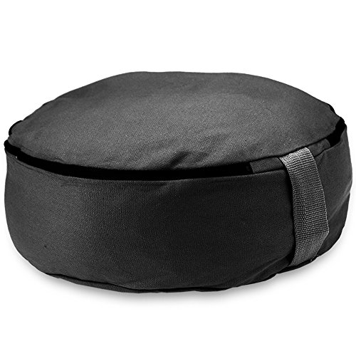 Crown Sporting Goods 15'' Round Heavy Canvas Zafu Meditation Cushion (Black) by Crown Sporting Goods