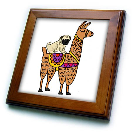 3dRose Cool Humorous Pug Dog Riding Llama Cartoon Framed Tile 8 x 8