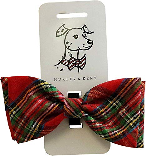 Huxley & Kent Red Plaid Tie Dog Collar Attachment (Bow Tie, Large) ()