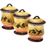 3 Piece Ceramic Canister Set French Olives Kitchen Storage NEW