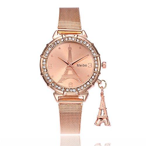 Han Shi Watches, Women Fashion Casual Business Eiffel Tower Quartz Wristwatch Round Clock (L, Rose Gold)