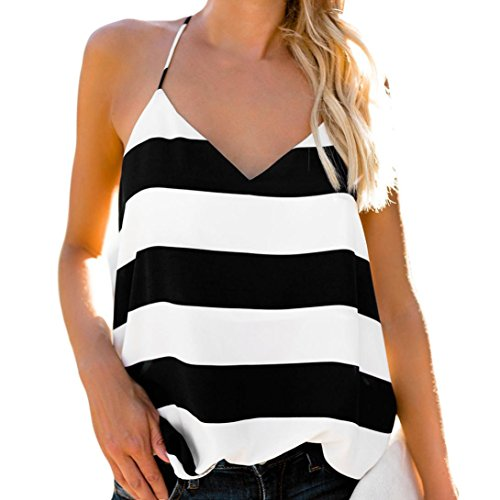 vermers Camisole Tops for Women - Ladies Summer Stripe V Neck Sleeveless Vest Fashion Casual Tank Top T-Shirt(M, (Silk Striped Belt)