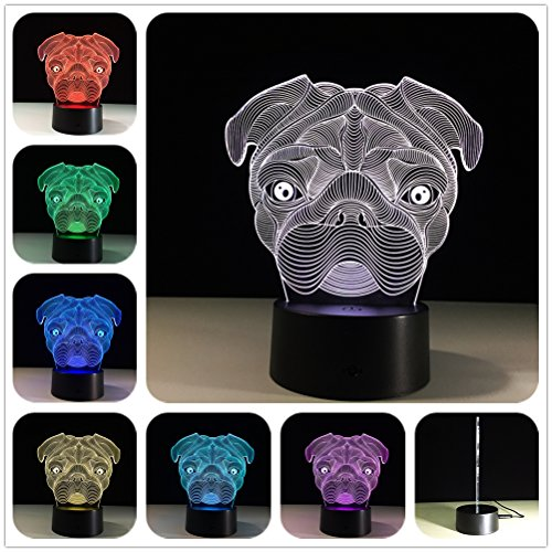 DowBier 3D Illusion Multi Colors USB Sleeping Night Light Desk Lamp Room Decoration (Bulldog Head) (Georgia Bulldogs End Table)