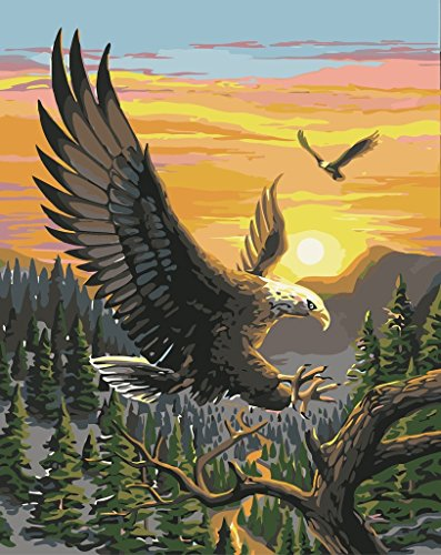 Majestic Square Two Light - YEESAM ART DIY Paint by Numbers for Adults Beginner Kids, Majestic Eagle Sunset 16x20 inch Linen Canvas Acrylic Stress Less Number Painting Gifts