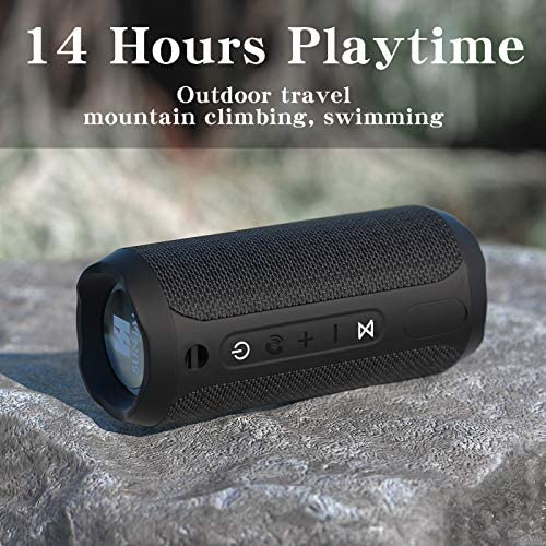 WSHDZ Portable 20w Waterproof Wireless Stereo Bluetooth Speakers J20 with Enhanced Bass Sound,Party Light,IPX67,HD Sound,Long Battery Life Support Hands-Free Call for Outdoor Indoor Activities-Black 51w2nvkQqbL