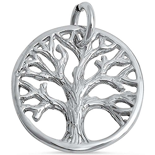 Tree Charm - Solid Sterling Silver Tree of Life Family Tree Pendant Charm