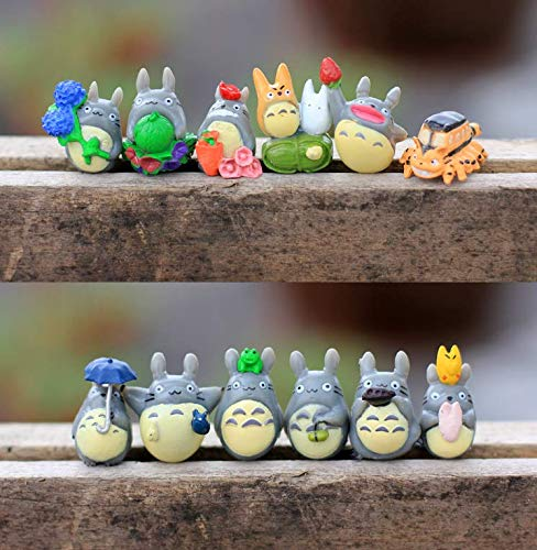 Chris.W 12pcs My Neighbor Totoro Dollhouse Miniature Totoro Figurines Figure Fairy Garden Terrarium Supplies Ornaments (Small Figurines)