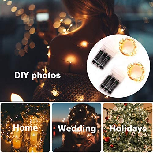 2Packs LED Fairy String Lights,Svarog Fairy Lights Battery Operated,16ft/5m 50LEDS Copper Wire String Lights for Bedroom,Indoor Garden Wedding Party Patio Home Christmas Decorations(Warm White)