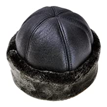 ZLYC Unisex Cold Weather Warm High Quality PU Russian Ushanka Hat with Faux Fur
