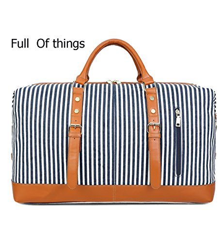CAMTOP Weekend Travel Bag Ladies Women Duffle Tote Bags PU Leather Trim Canvas Overnight Bag Luggage (Blue)