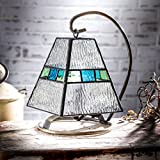 J Devlin Lam 703 Tiffany Stained Glass Mini Lamp Clear Blue and Green Accent Night Light