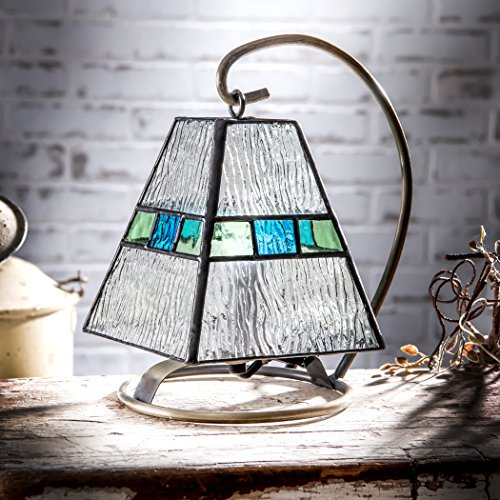 J Devlin Lam 703 Tiffany Stained Glass Mini Lamp Clear Blue and Green Accent Night Light Memory (Light Table Fixture Glass Stained)