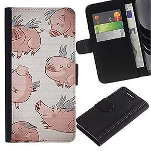 WonderWall ( No Para Xperia Z1 ) Fondo De Pantalla Imagen Diseño Cuero Voltear Ranura Tarjeta Funda Carcasa Cover Skin Case Tapa Para Sony Xperia Z1 Compact D5503 - alas de cerdo de dibujos animados divertido del azul de dibujo
