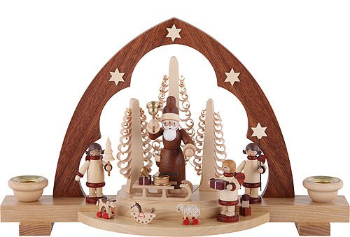 German candle arch Santa giving out Christmas presents, length 30 cm / 12 inch, natural, original Erzgebirge by Mueller Seiffen by ISDD Cuckoo Clocks
