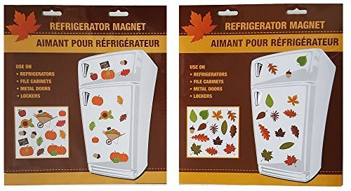 Autumn Leaves, Pumpkins, and Acorns Fall Themed Refrigerator Magnets (Halloween Decorations Garage Door)