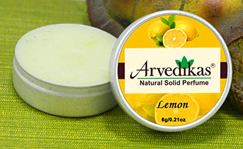 Arvedikas Lemon Natural Solid Perfume Beeswax/Mini Jar/Organic Vegan Travel Perfume/Women Aromatic Scent/Pocket Size Compact Cologne/Scented Balm/Body Musk/Parfum / 6gm (30 Varieties) - Cherry Perfume Solid Blossom