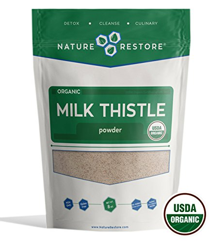 Nature Restore USDA Certified Organic Milk Thistle Seed Powder, (8 ounces) Non-GMO and Gluten Free (Milk Powder Nature)