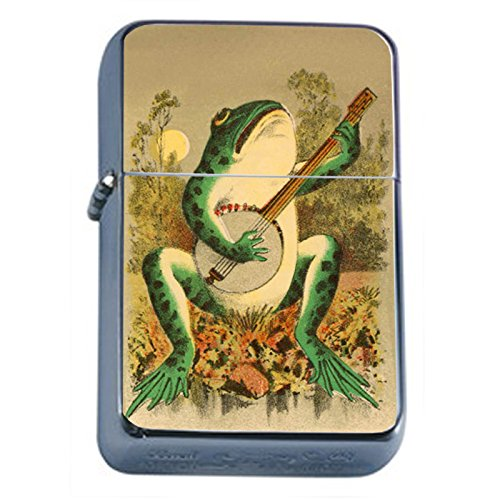 Frog Playing Guitar Flip Top Oil Lighter A1 Smoking Cigarette Smoker Includes Silver Case