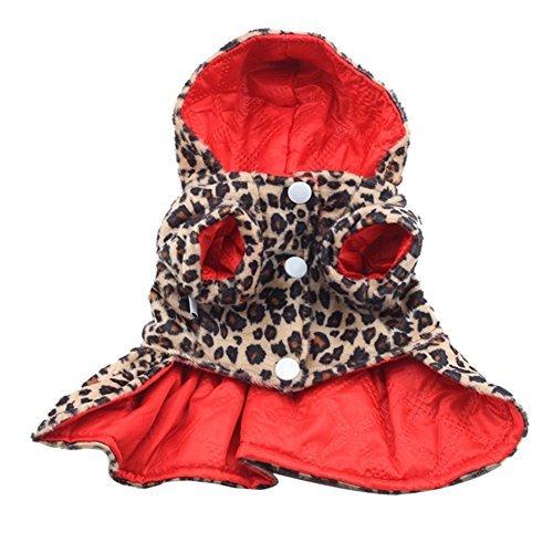 Norbi Pets Dog Leopard Dress Coats Tutu Hoodie Puppy Winter Tops - Dog Pet Coat Dress