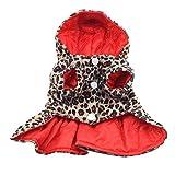Norbi Pets Dog Leopard Dress Coats Tutu Hoodie Puppy Winter Tops Hoody(A Red)