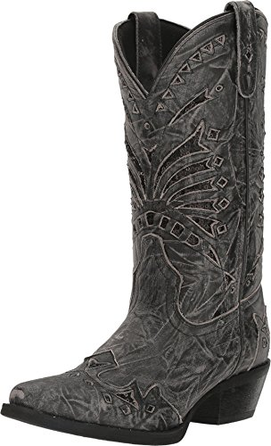 Laredo Womens Black Stevie Leather Cowboy Boots 11in Sequin 8 M