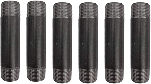 Industrial Steel Fits Standard Half Inch Black Threaded Pipes and Fittings 1//2 /× 1.5, Black GeilSpace 6 Pack 1//2 /× 1.5 Pre-Cut Black Metal Pipe Vintage DIY Industrial Shelving