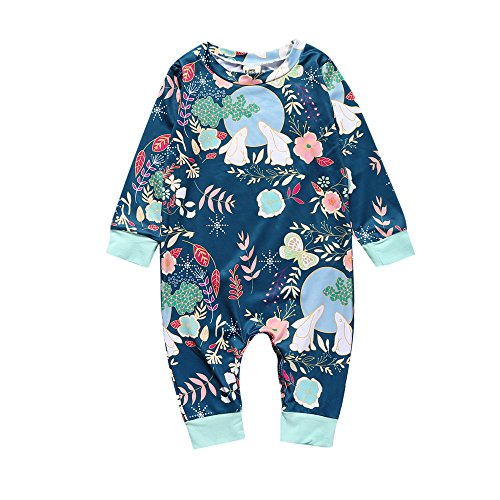 Newborn Baby Girls Boys Rabbit Moon Long Sleeve Romper Jumpsuit (Rabbit Moon Baby Girl)