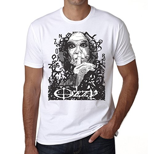 (Ozzy Osbourne The Prince of Darkness Men's T-shirt Celebrity Star ONE IN THE CITY - White, XL)
