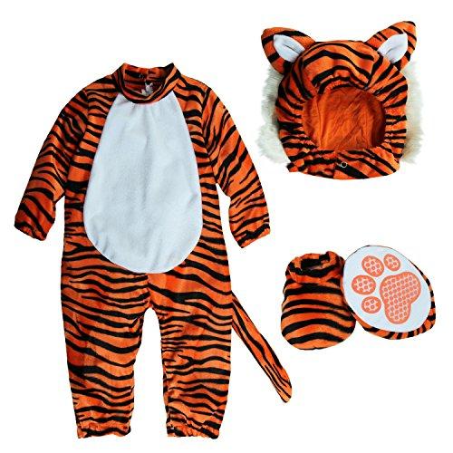 [Mengbeibei Unisex Baby Tiger Tot Costume Reindeer Halloween Onesie Cosplay Infant Pajamas Set (24-36] (Halloween Costumes 36 Months)