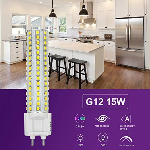 MENGS 10 Stück G12 LED warmweiss Lampen 15W 1080 Lumen LED Leuchtmittel 2700 Kelvin Warmweiß, Ersatz 120W Halogenlampen 360 ° Abstrahlwinkel LED-Maislicht, CRI>80, AC 85-265V