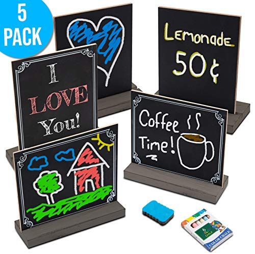 Baby Shower Food Table (Mini Chalkboard Signs with Stand, 5 Pack Small Tabletop Chalk Board Sign Holder for Table Food Menus, Baby Shower, Decorative Wedding Decor, Birthday and Kitchen Parties - 5x6 Rustic Brown)