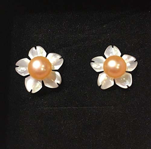 QQZEAL Sakura vivid carved Exquisite White Lip Shell Flower Beads, White Mother of Pearl with fresh water pearl and sterling silver earing studs (12mm, 5A grade white Sakura with pink pearl bead) (Pearl Lip Mother Shell Of)