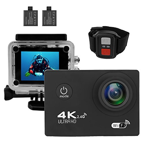 Action Camera 4K Ultra HD WiFi Waterproof Sport Video Camera 2 Inch LCD Screen 16MP 170 Degree Wide Angle 6 Layers Lens with 2.4G Remote
