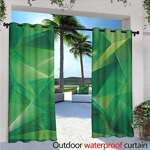 Simple Gre Crystal (Mint Outdoor Privacy Curtain for Pergola W72 x L84 Psychedelic Geometric Crystal Pattern with Cosmic Dynamic Digital Boho Print Thermal Insulated Water Repellent Drape for Balcony Jade and Lime Gre)