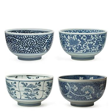 Japanese Sometsuke Bowl Set includes 4 Bowls by MIYA