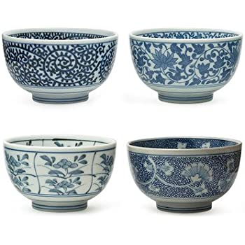 Japanese Sometsuke Bowl Set includes 4 Bowls  sc 1 st  Amazon.com : oriental tableware set - pezcame.com