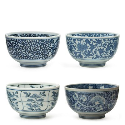 Japanese Sometsuke Bowl Set includes 4 Bowls (Japanese Stoneware)
