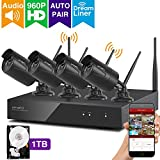 xmartO Expandable Wireless Security Camera System Outdoor 8CH 960p HD NVR with 4pcs 960p 1.3MP Wireless IP Cameras and 1TB HDD, Auto-Pair, NVR Built-in with WiFi Router, 80ft IR and Easy Remote View