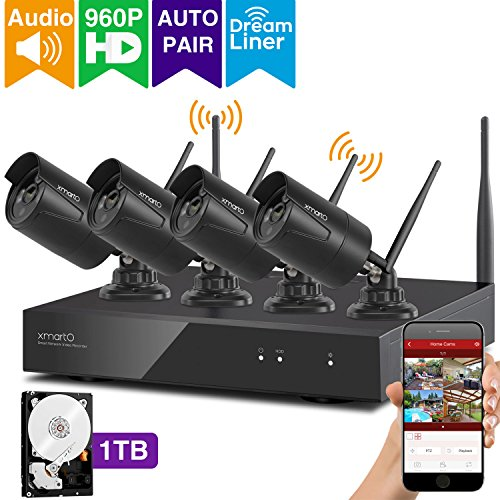 Long Range Video Surveillance - xmartO Expandable Wireless Security Camera System Outdoor 8CH 960p HD NVR with 4pcs 960p 1.3MP Wireless IP Cameras and 1TB HDD, Auto-Pair, NVR Built-in with WiFi Router, 80ft IR and Easy Remote View